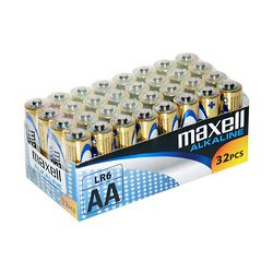 32 piles alcalines LR6 AA Maxell